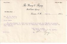 1912 THE YOUNG & THYNY Real Estate Agency LACONIA New Hampshire FRED A. YOUNG