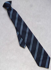 NEW VINTAGE CLIP-ON TIE SCHOOL BOYS READY TIED 1970'S 1980'S NAVY BLUE STRIPED