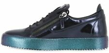 GIUSEPPE ZANOTTI Metallic Leather Blue LONDON MAY Lo-Top Sneaker 11 US 44 EU New