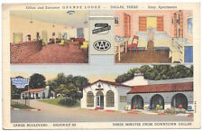 Linen Postcard Multiple Views of Grande Lodge in Dallas, Texas~105247
