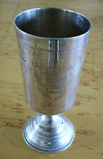 A  SOLID SILVER KIDUSH CUP WITH ENGRAVED DEDICATION IN HEBREW ON IT - 1933