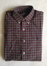 $90 NWT Mens Polo Ralph Lauren Green Red Plaid Button Down Oxford Shirt S