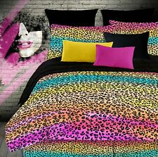 Rainbow Leopard Colorful Twin Comforter Set, Teen Girls 3 Piece Bedding, NEW!
