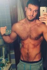 Shirtless Male Muscular Super Fit Beefcake Hunk Hairy Chest Abs PHOTO 4X6 C1846