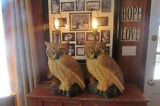 2 Large 1960-1970's Vintage Ceramic Owl Lamps/Lights #2051