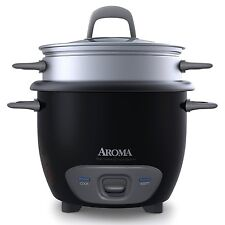 Aroma 6 Cup Cooked Black Pot Style Rice Cooker & Food Steamer ARC-743-1NGB NEW