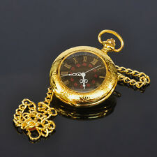 Elegant Antique Type Gold Plated Quartz Mens Pocket Watch with Chain