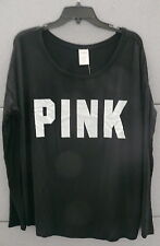 PINK Victoria's Secret Long Sleeve Tee Shirt Top Scoop Neck Black LARGE NWT