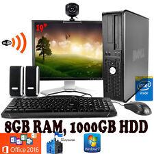 Torre de escritorio rápido equipo Dell Windows 10 Wifi 8GB Ram 1TB HDD Office 2016