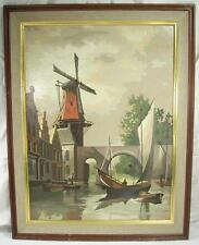 Vintage Paint by Number G Klein Painting Sailboat Windmill Bridge Holland 1966