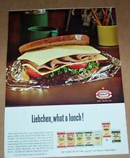 1965 print ad page -Kraft foods Muenster German cheese sandwich lunch vintage AD