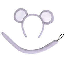 Childrens Mouse Fancy Dress Costume Set Kit Animal Ears & Tail - Book Week Day