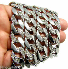 "Hip Hop Chain 30"" Cuban Link Silver Tone 14 mm Wide Mens Iced-Out Bling Necklace"
