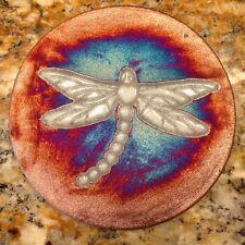 Dragonfly Coaster Raku Pottery, handmade, handsigned, made in USA - NEW
