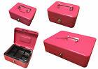 Pink Cash Box - Steel Metal Money Box Cash Tin - Coin Tray