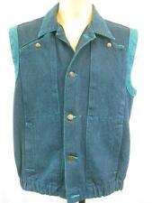 "S/M 38"" - Vintage 70's Mens Blue Denim Gilet Waistcoat Jacket Work Retro - A987"