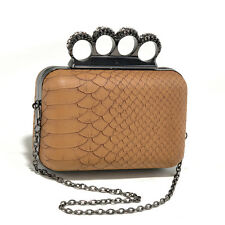 Women's Petite Snakeskin Faux Leather Clutch with Knuckle Ring Handle - Coffee