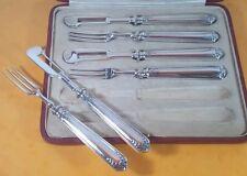 SUPERB ANTIQUE ELKINGTON SILVER PLATE 6 CITRUS FRUIT PEELER KNIVES & FORKS CASED