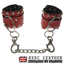 Conical Red Studded 100% Real Leather Handmade Handcuff Made In England