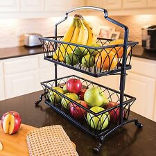2-Tier Wrought Iron Wire Basket Storage Fruit Rack Holder Kitchen Bath Organizer