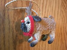 Pottery Barn Bottle Brush Pug Dog with Antlers & Red Bow Christmas Ornament-New