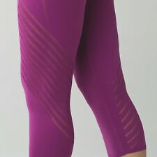NWT $98 LULULEMON LARGE 10 12 ENLIGHTEN CROP PANT MESH REGAL PLUM YOGA PANTS