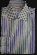 NWT Brooks Brothers Blue White Purple Stripe Spread Collar 14-31 Retail $180