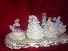 "Large Dresden Figurine Muller Volkstedt  The Wedding Game"" Children 7 Figures"