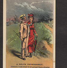 Ugly Antique Old Maid Thunderstorm Comic Joke #47 Arbuckle Coffee Trade Card