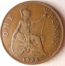 1935 GREAT BRITAIN PENNY - Excellent Vintage Coin - Britain Bin #5