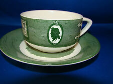 Royal Colonial Homestead Green Cup &  Saucer 2 Piece Set White Made In USA  @9