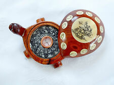 CHINESE WOODEN FENG SHU COMPASS WITH TIME DIRECTION TURTLE TURTOISE - second a1