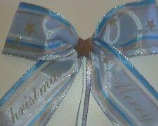 Merry Christmas Geschenkschleife in hellblau-silber, Weihnachts schleife