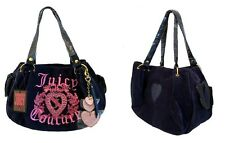 Juicy Couture Navy Velour Pink Embroidered Studded Heart Charms Handbag NWT