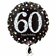 60th Foil Balloon Birthday Party Hanging Decorations Black Gold Helium Sparkle