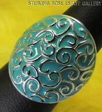TURQUOISE ENAMEL WIDE Sterling Silver 0.925 Estate BAND RING size 6