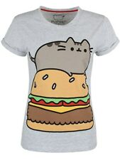 Pusheen the Cat Burger Womans Rolled Sleeve T Shirt Medium New Grey