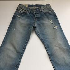 "Abercrombie & Fitch 28 x 30"" Slim Straight Denim Button Fly Distressed Jeans NWT"