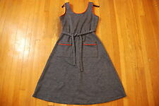 Vintage LADY CAROL blue cotton mod cloth 70s red piping denim 12 Womens dress L