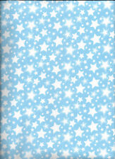 New Starry Nights Blue with White Stars Flannel Fabric by the 1/2 yard