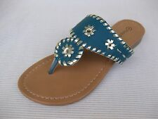 Pierre Dumas Womens Shoes $39 Rosetta Teal Turquoise Slide Sandal Thong 7.5 M