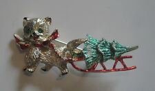 Vintage Beatrix Christmas Pin Cat Pulling Sled with Tree Signed