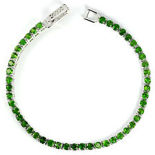 Sterling Silver 925 Faceted Genuine Natural Chrome Diopside Bracelet 7 Inches