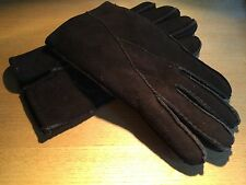NEW CLASSIC SHEARLING LAMB FUR SKIN ULTRA SOFT - DARK BROWN - ADULT LG GLOVES