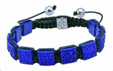 Mens Womens Blue Crystal Square Shamballa Bracelet One Size NEW