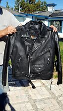 X ELEMENT Men's Black Leather MOTORCYCLE Jacket EMBOSSED EAGLE Sz M NWT!