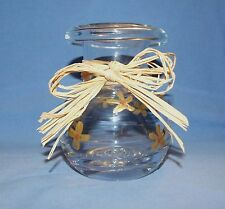Hand Painted Glass Flower Vase - Gold Flowers & Natural Raffia Ribbon