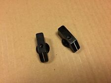 2 Vintage Black Bakelite Pointer Knobs w/ holes in centers for Ham Radio