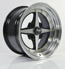 4pcs WORK EQUIP W3 15inch RIM 8/9J ET0 4X114.3 BLACK/MACHINE FACE & LIP SY5011-1