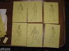 6 Patou Vintage Fashion Stat Sheets 1950 1960 Haute Coutre #C11